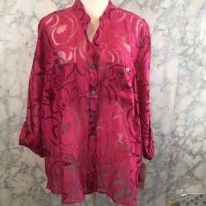 Pink Blouse With Sheer Pattern Notations Woman NWT